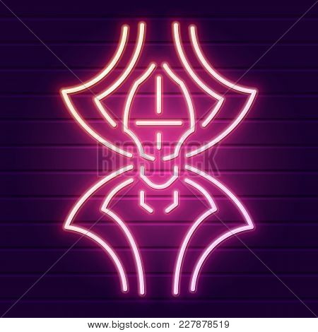 Neon Spider Sign On The Wall. Halloween Stylized Logo. Decorative Element For Your Design. Eps10 Vec