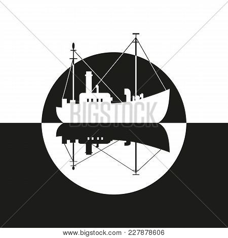 Commercial Fishing Trawler Icon. Ship Silhouette On The Sea. Side View. Fishermen Boat On The Ocean.
