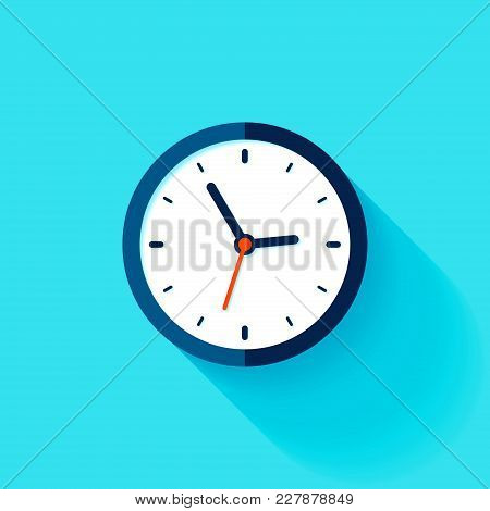 Clock Icon In Flat Style, Timer On Blue Background. Business Watch. Vector Design Element For You Pr