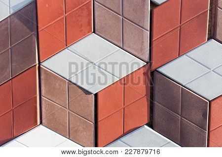 A Wall Of Decorative Tiles As Background .