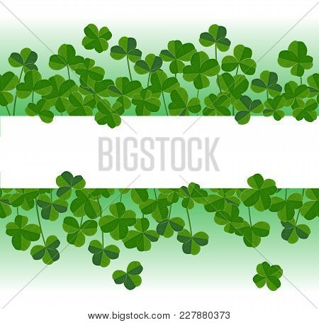 St. Patrick's Day Vector Horizontal Background With Shamrock Leaves. Elegant Leaves Silhouettes, Pla