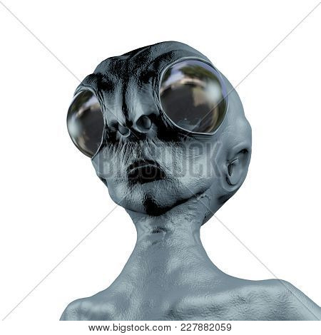 Extraterrestrial humanoid creature, Alien character, UFO visitor, 3D illustration poster