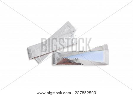Chewing Gum Plate Wrapped In Foil Isolated On White Background