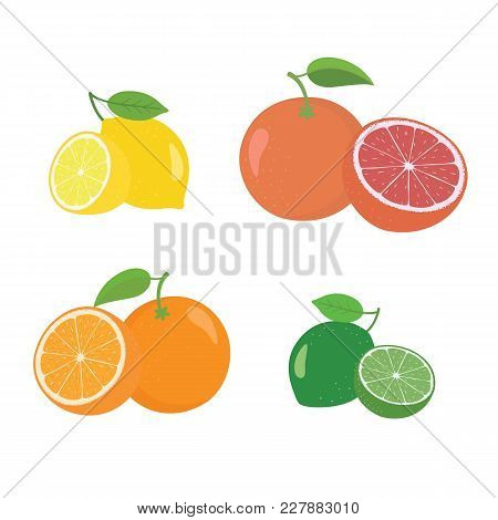 Fresh Citrus Fruits Whole And Halves 4 Realistic Icons Square With Orange Grapefruit Lemon Lyme Isol