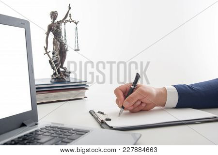 Law, Advice And Legal Services Concept. Lawyer And Attorney Having Team Meeting At Law Firm