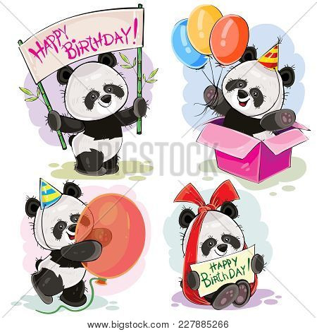 Set Of Cute Baby Panda Bears With Happy Birthday Banner, With Bow And Greeting Card, With Surprise I