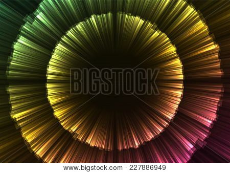 Rainbow Abstract Firework Overlap Background, Glow Flower Layer Bloom Line, Technology Template, Vec