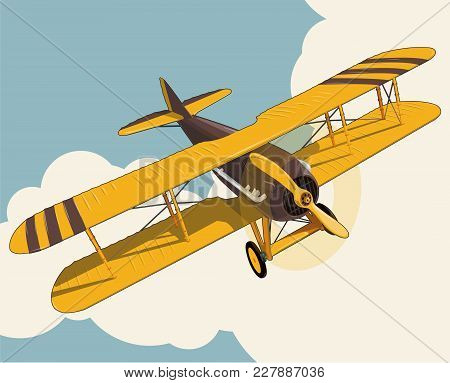 Yellow Plane Flying Over Sky With Clouds In Vintage Color Stylization. Old Retro Biplane Designed Fo