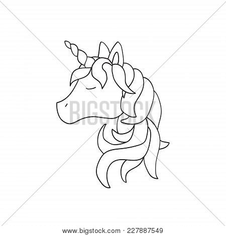 Vector Unicorn Illustration Isolated On White Background. Cute Animal. For Children