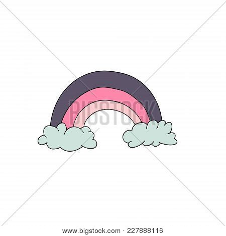 Cute Animal. Vector Rainbow Illustration Isolated On White Background. For Children