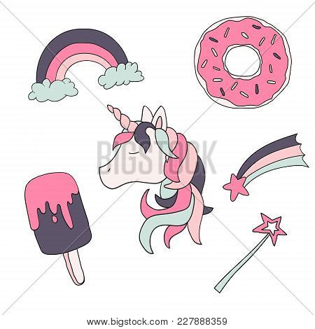 Cute Animal. Vector Unicorn Set Isolated On White Background. For Children