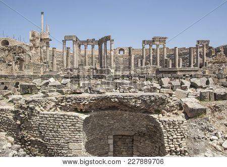 Ruins Of Ancient Roman Theater In Dougga. Tunisia