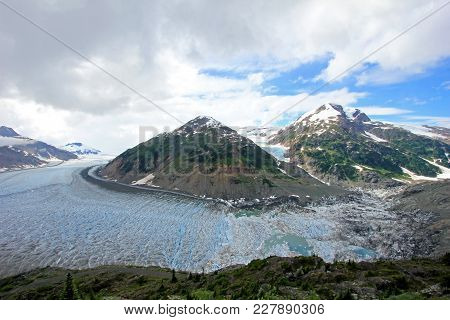 Salmon Glacier Near Hyder, Alaska And Stewart, Canada, The Glacier Is Located Right On The Canadian