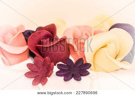 Wedding Cake Sweet Marriage Symbol Of Creamy Cream Flowers Love. A Delicious Yes When A Man Loves A