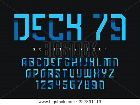 Deck 79 Vector Futuristic Industrial Display Typeface Design, Alphabet, Character Set, Font, Typogra