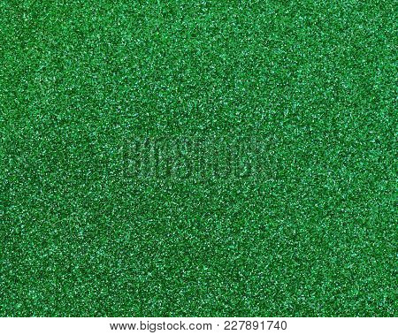 Green Glitter Texture Abstract Background Close Up