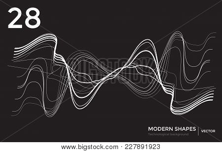 Abstract Vector Futuristic Techno Background. Editable Linear Shape Template From Dash Lines And Wav