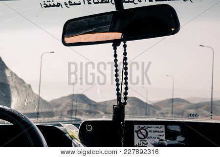 Jericho, Israel - August 06, 2010: Horizontal Picture From The Cockpit Of A Taxi On The Road To Jeri