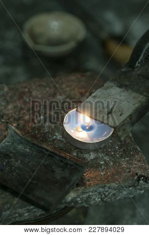 Close-up Of Metal Mold And Crucible Before Melting Metal To Liquid State. Goldsmith Workshop