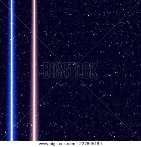 Light swords on Space Background. Eps10.. Realistic lightsaber. Space Stars Background. Vector Illustration of The Night Sky. Light swords on horizon.