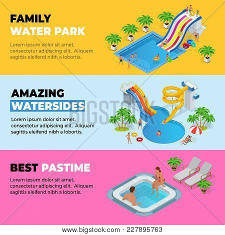 Aquapark Horizontal Web Banners With Different Water Slides, Family Water Park, Hills Tubes And Pool