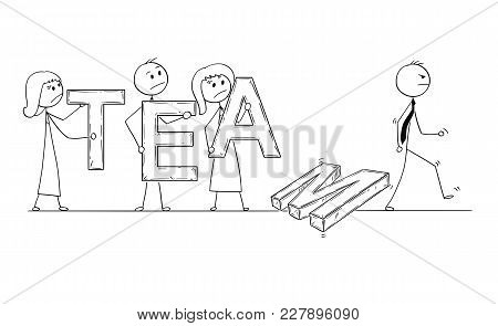 Cartoon Stick Man Drawing Conceptual Illustration Of Business People, Businessmen And Businesswomen
