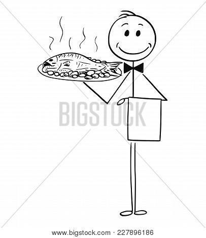 Cartoon Stick Man Drawing Conceptual Illustration Of Waiter Holding Silver Plate Or Tray With Fish.