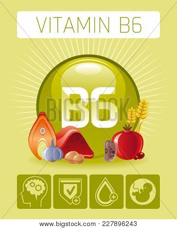 Pyridoxine Vitamin B6 Rich Food Icons. Healthy Eating Flat Icon Set, Text Letter Logo, Isolated Back