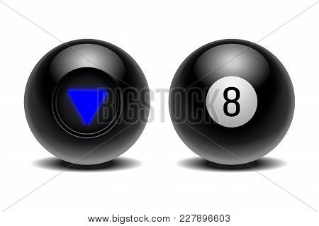 The Magic Ball Of Predictions For Decision-making. Realistic Black Ball Isolated On A White Backgrou