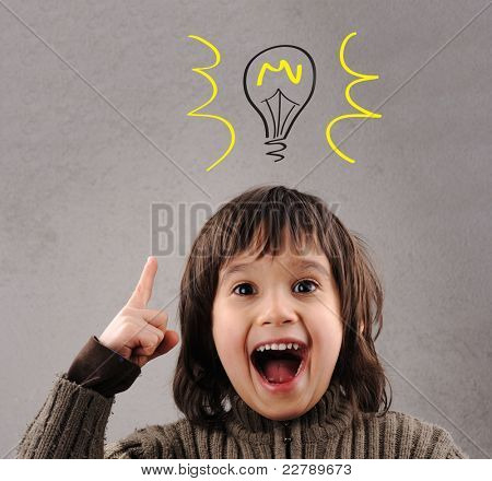 Excellent idea, kid with illustrated bulb above his head poster