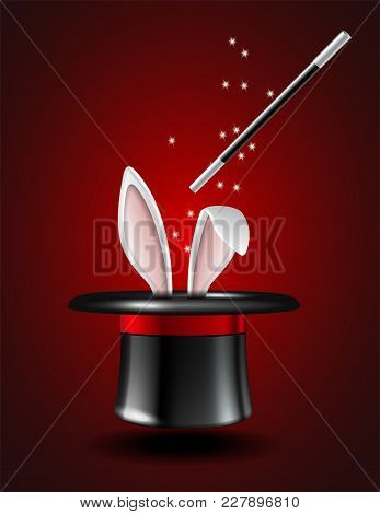 White Rabbit Ears Appear From The Magic Hat On Red Background. Vector Illustration