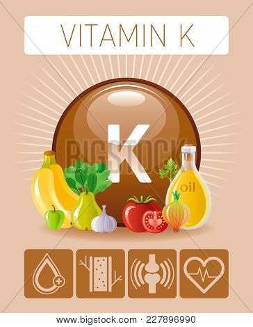 Vitamin K Supplement Food Icons. Healthy Eating Text Letter Logo, Isolated Background. Diet Nutritio