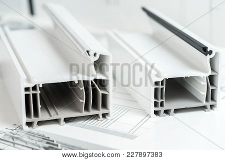 A Cross Section Of Pvc Window. Pvc Window Profile Cut. Design Of Pvc Profiles For Window, Technical