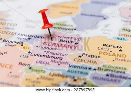 Map Of Germany With A Red Pushpin.