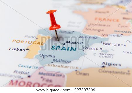 Map Of Spain With A Red Pushpin.