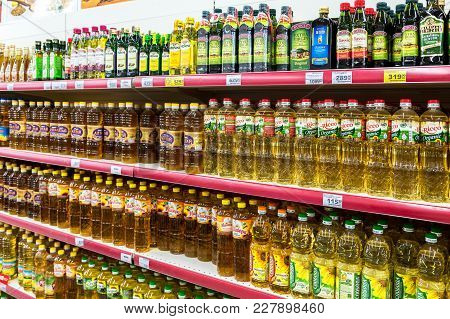 Samara, Russia - October 8, 2017: Different Packaged Sunflower Oil Ready For Sale In The Supermarket
