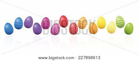 Easter Eggs. Colorful Line, Loosely Arranged, Different Colors And Patterns. Rainbow Colored Three-d