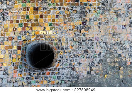Tessellated Colorful Old Surface With A Black Hole