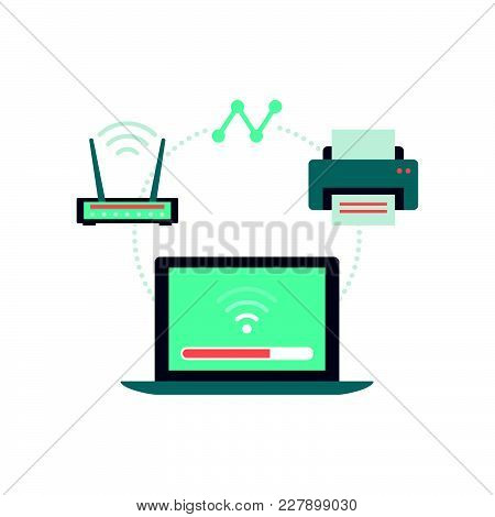 Laptop Connecting With Router And Printer: Wireless Connection And Peripheral Devices Concept