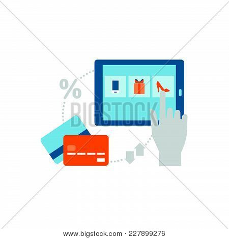User Purchasing A Product Online Using A Digital Tablet And Credit Cards, Online Shopping Concept