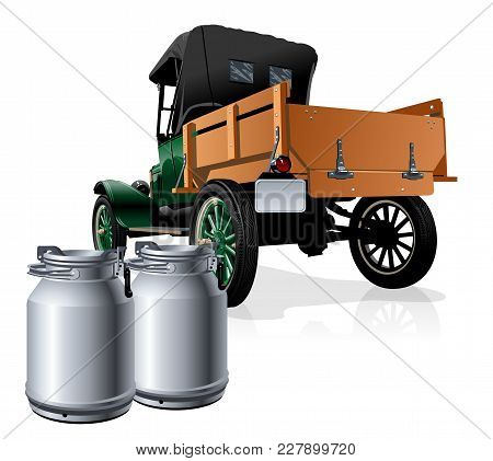 Vector Retro Delivery Milk Truck. Available Eps-10 Vector Format Separated By Groups And Layers For