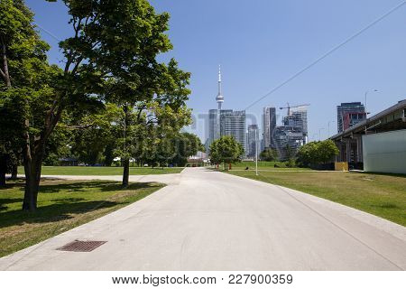 The City Of Toronto Sits In The Background At The Fort York Historic Site In Canada