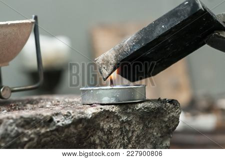 Close-up Of Metal Mold And Crucible Before Melting Metal To Liquid State, Goldsmith Workshop