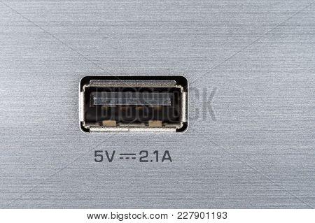 Usb Port On Aluminium Panel, Textured Silver