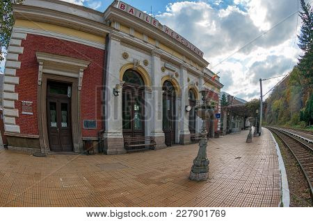 Baile Herculane, Romania - November 4, 2017: The Building Of The Railway Station, A Historical Monum