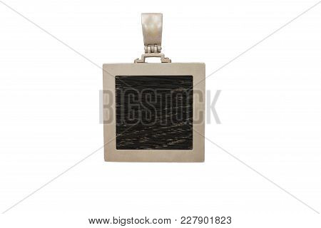 Medallion Of Wood On A White Background.