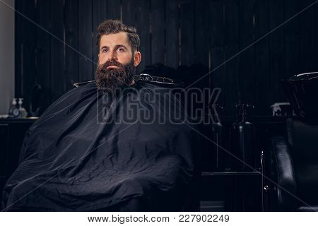 Handsome Bearded Man With Before Hair Wash In A Hairdressers Salon.