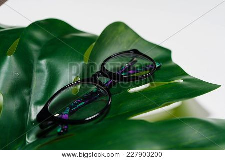 On A White Background, On A Green Sheet Lie Glasses In Black Rim