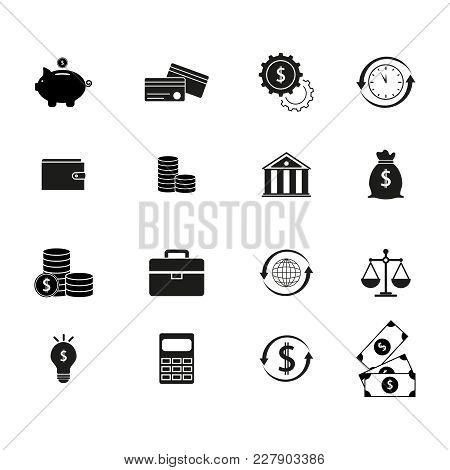 Set Finance Money Black Icons On The White Background