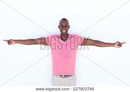 Happy African American Man With Arms Outstretched